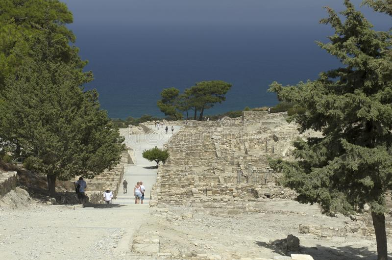 Ancient Greek city of Kamiros on the Aegean coast stock image