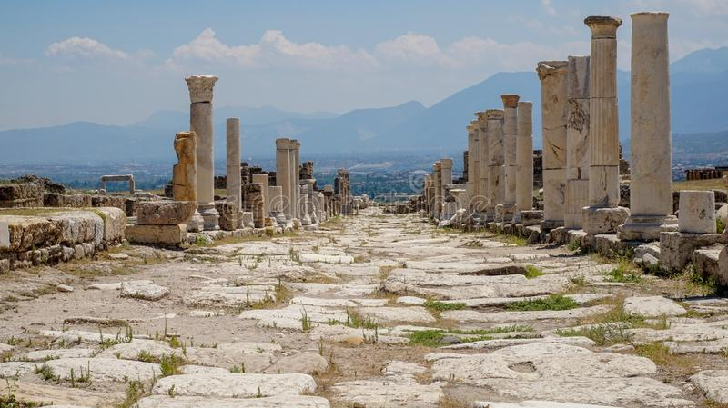 Ancient Greek City Ruins, Laodikeia. Laodikeia is situated in an excellent geographical location on the south side of the Lycus River, 6 km north of Denizli. The royalty free stock image