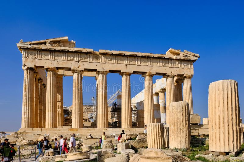 Temple of Athena, The Parthenon, Athens, Greece stock images
