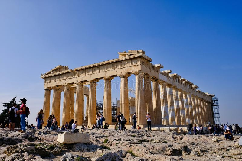 Temple of Athena, The Parthenon, Athens, Greece stock photos