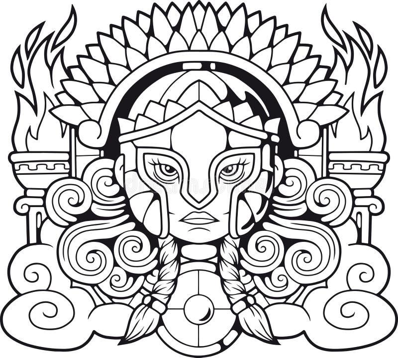 Ancient Greek goddess Athena Pallas royalty free illustration