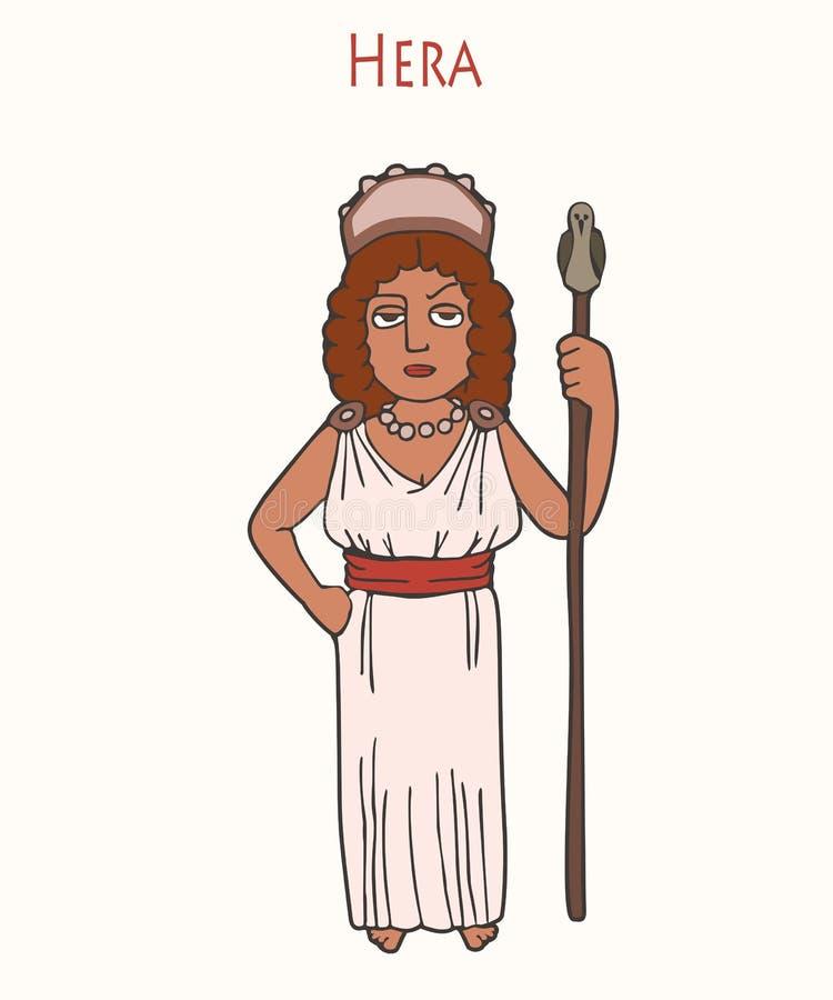 Ancient Greek goddess Hera cartoon vector illustration