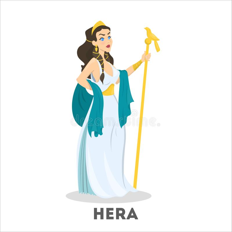 Ancient greek goddess Hera. Mythology god character. Olympian. Fantasy girl in beautiful dress. Isolated vector illustration in cartoon style royalty free illustration