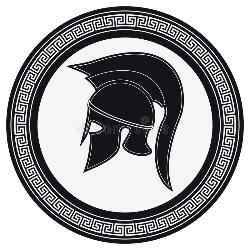 Ancient Greek Helmet with a Crest on the Shield on a White Background. Silhouette Spartan Helmet. Vector Roman Helmet stock illustration