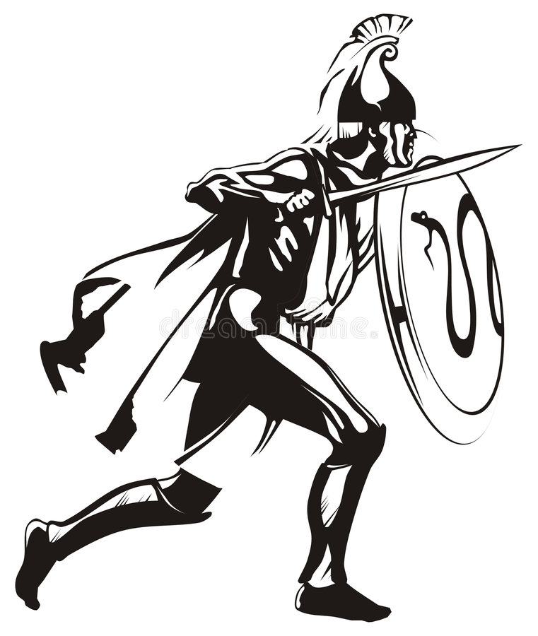 Download Ancient Greek hero stock vector. Image of silhouette, black - 9151585