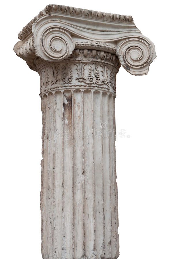 Free Ancient Greek Ionic Column Isolated On White Stock Image - 15161551