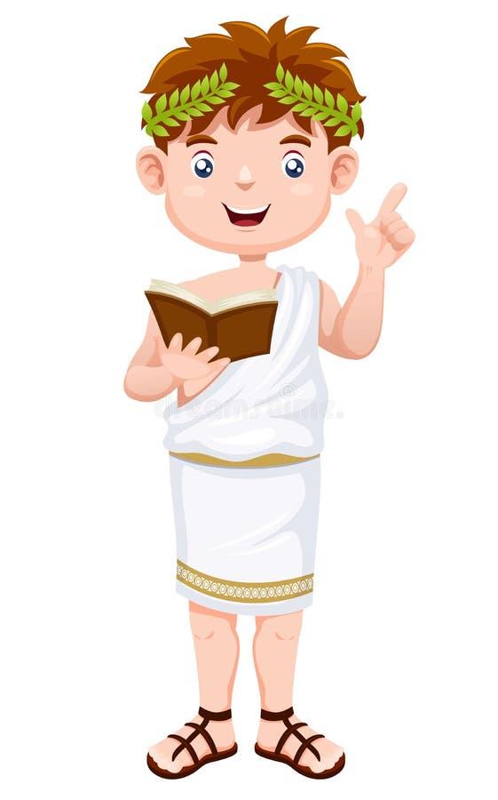 Ancient greek man cartoon vector illustration