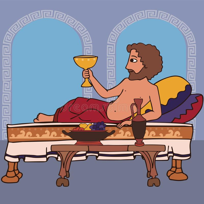 Ancient greek man reclines on the bed drinking wine. Man reclines on the bed drinking wine, funny vector cartoon illustration of ancient greek gedonist and vector illustration