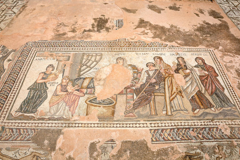 Ancient Greek mosaic in in Paphos, Cyprus stock image
