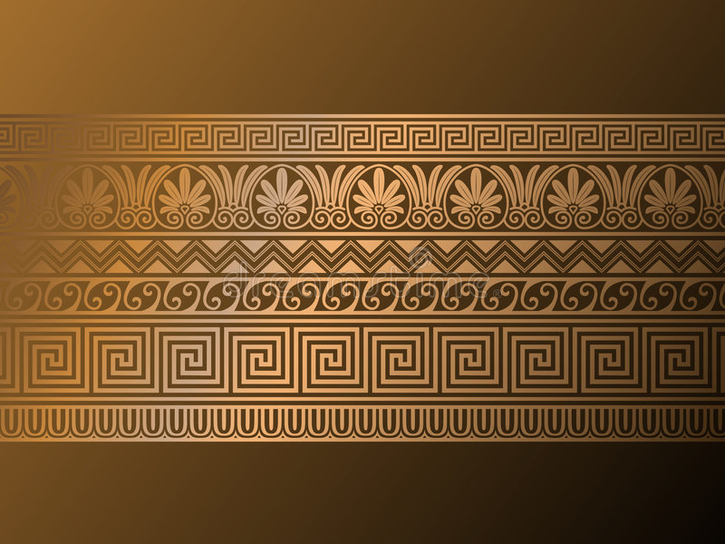 Ancient Greek ornaments. stock illustration