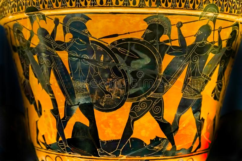 Ancient Greek Phalanx Pottery National Archaeological Museum Athens Greece royalty free stock image