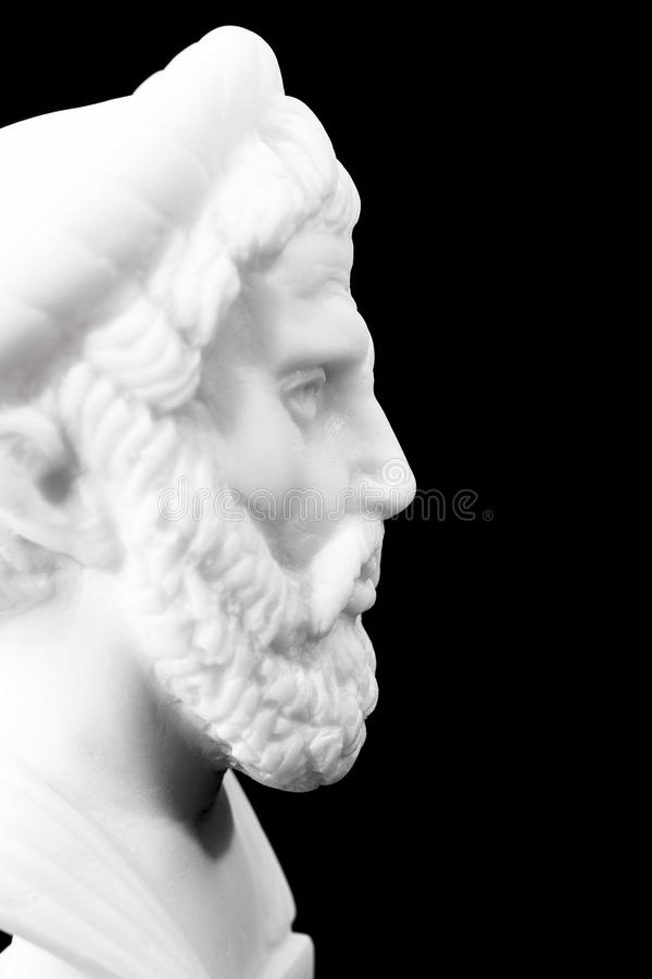 Ancient Greek philosophers. Pythagoras of Samos (570–490 B.C.E.) was an important Greek philosopher, mathematician, geometer and music theorist. Sculpture royalty free stock photo