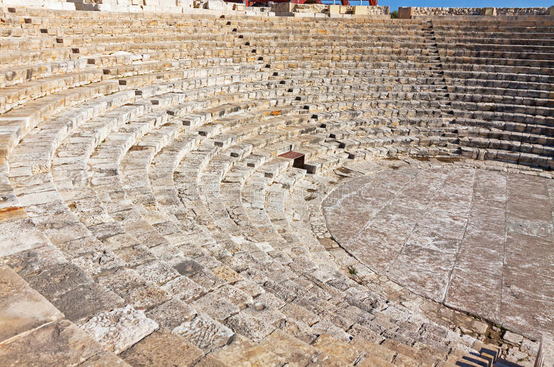 Ancient Greek-Roman theater in Kourion, Cyprus. View of ancient Greek-Roman theater in Kourion, Cyprus stock images