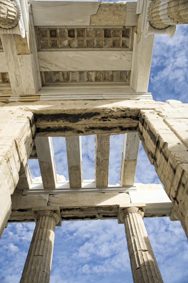 Ancient Greek roof in the skies in Athens stock photos