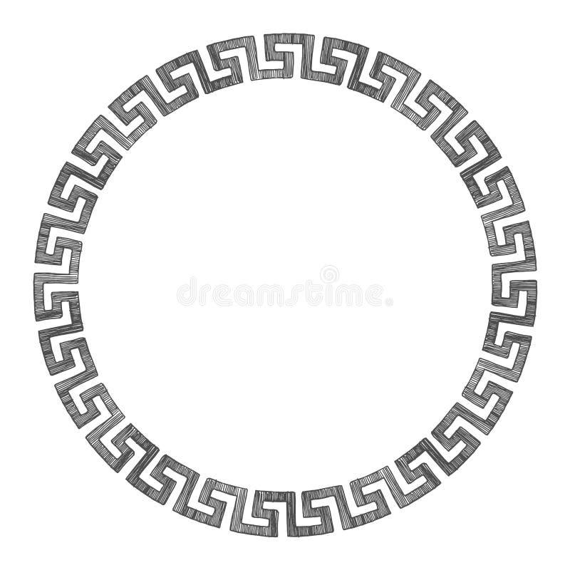 Ancient Greek round ornament. stock illustration