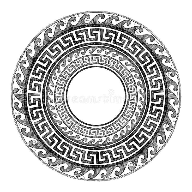 Ancient Greek round ornament. royalty free illustration