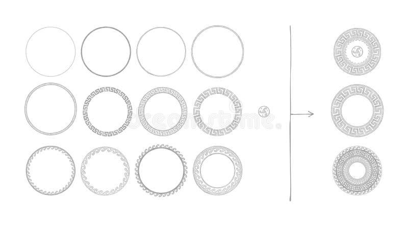 Ancient Greek round ornament stock illustration