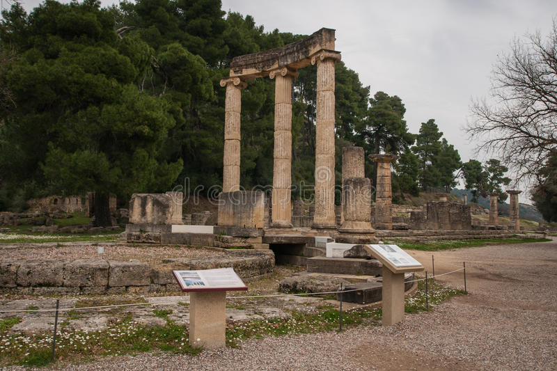 Ancient Greek ruins at the archaeological place of Ancient Olimpia stock images