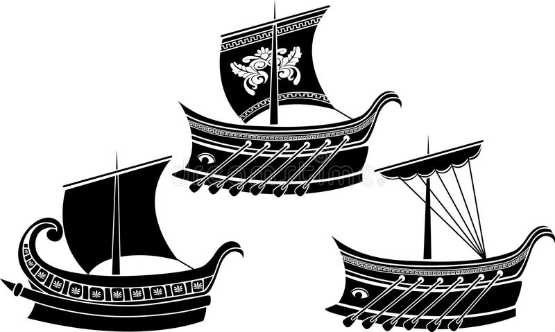 Download Ancient Greek ship set stock vector. Image of ionian - 22915085