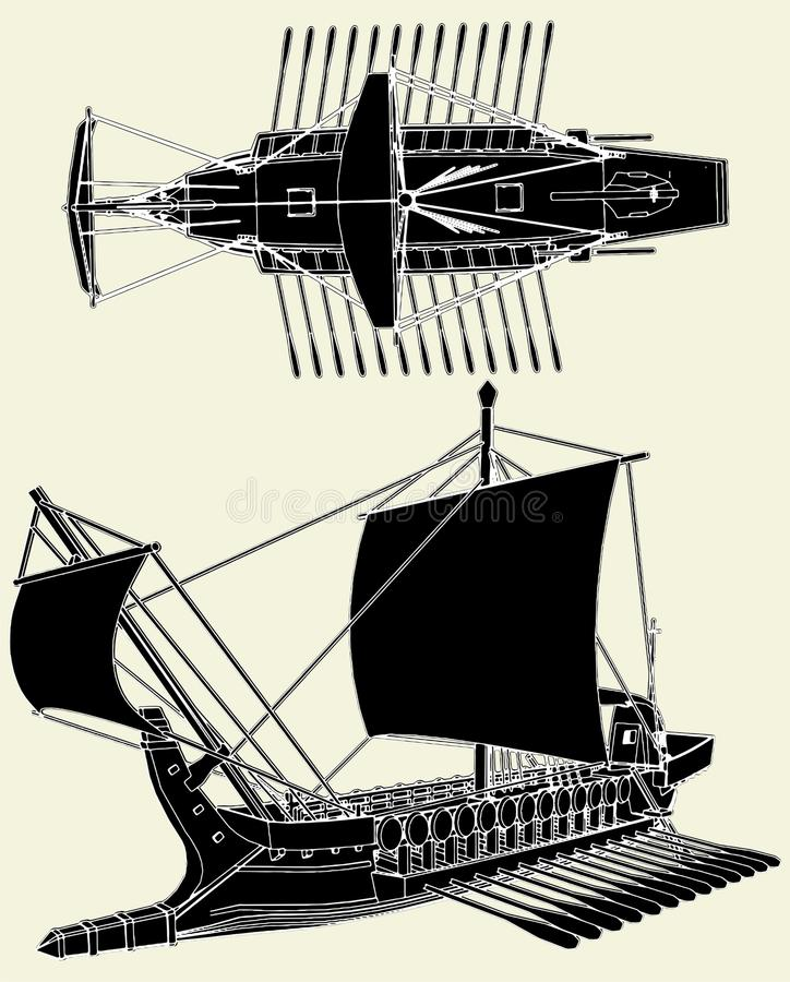 Download The Ancient Greek Ship Vector 01 Stock Vector - Illustration of sail, ancient: 14436314