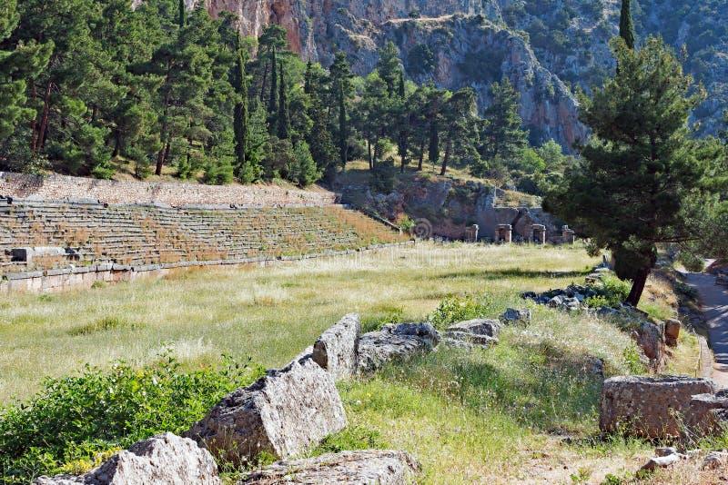 Ancient Greek Delphi Stadium, Sanctuary of Apollo, Greece. The Ancient Greek Stadium of Delphi, the highest point in the Sanctuary of Apollo, Delphi, Mount stock images