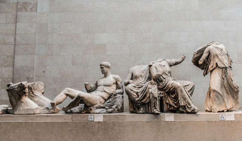Ancient Greek Statues. Ancient statues from Greece preserved and on display in the British museum, The statues, made from marble, missing limbs and various parts stock photography