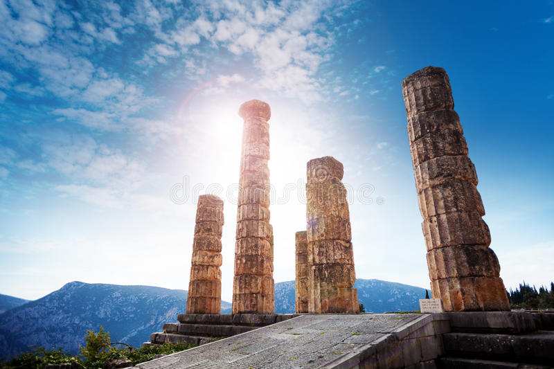 The ancient Greek temple of Apollo. Beautiful panorama with the temple of Apollo, Delphi stock photos