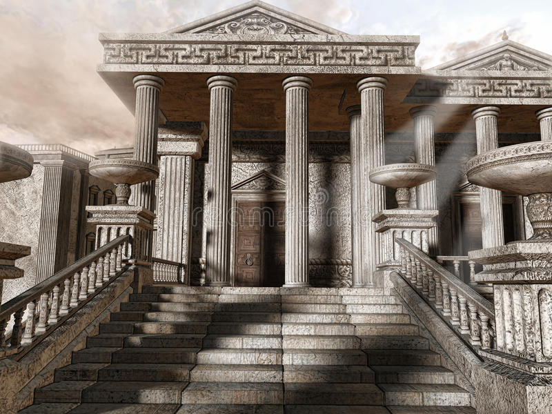 Ancient Greek temple. With stairs and columns vector illustration