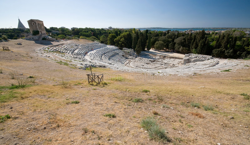 The Ancient Greek Theater. Located in Siracusa, Sicily - Italy royalty free stock photo