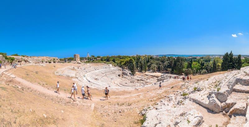 Ancient Greek theater of Syracuse, Sicily, Italy stock photo