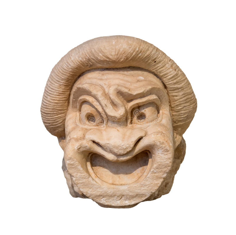 Ancient Greek theatre mask. Found in Athens, 2nd century BC royalty free stock photography