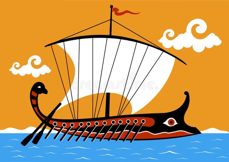 Ancient Greek trireme. An ancient Greek ship sailing on the sea royalty free illustration