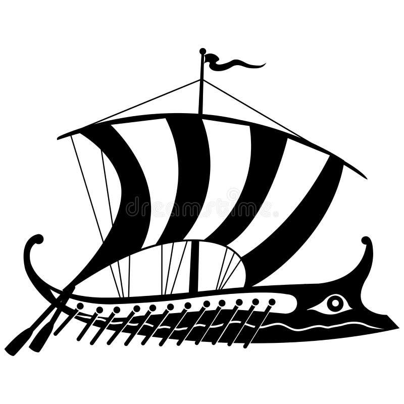 Ancient Greek trireme. Vector Illustration of a black and white image of an ancient Greek trireme royalty free illustration