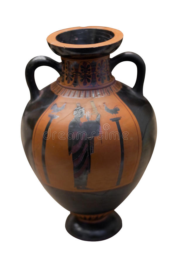 Ancient greek vase in black over red ceramic stock photography