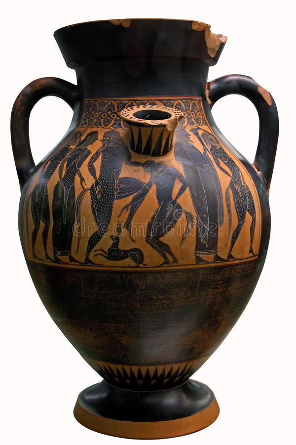 Ancient greek vase in black over red ceramic royalty free for Ancient greek pottery decoration