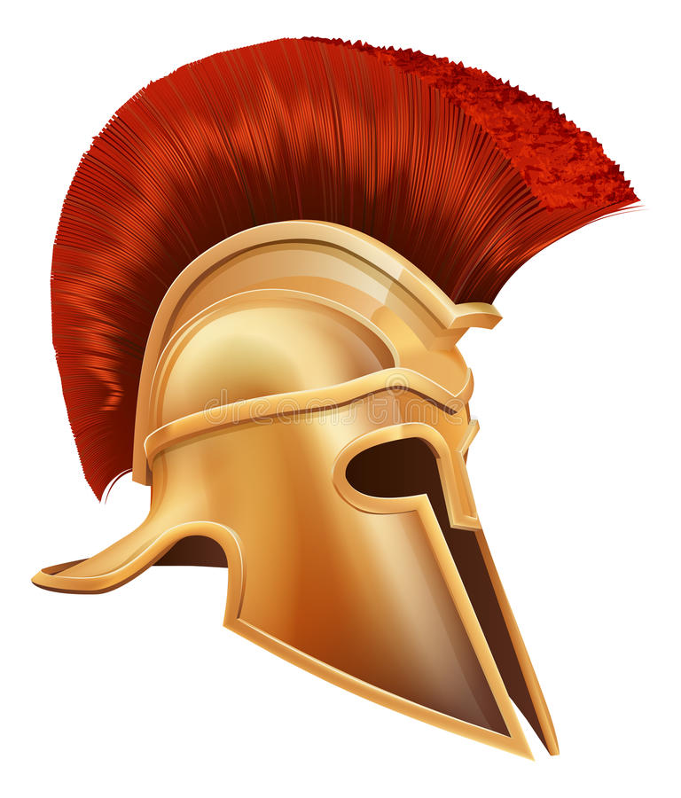 Ancient Greek Warrior Helmet stock illustration