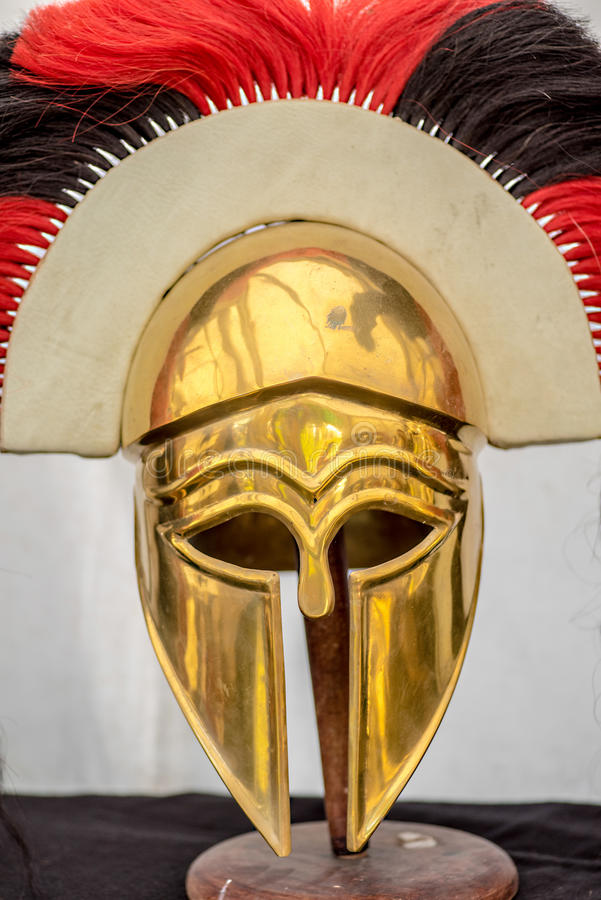 Ancient greek warrior helmet royalty free stock photography