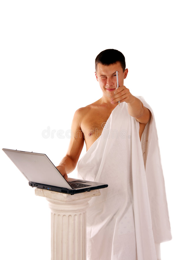 Ancient greek working with notebook royalty free stock image