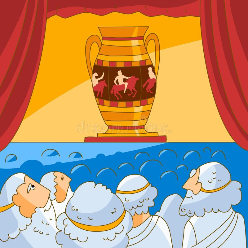 Download Ancient Greeks Looks At The Vase Stock Vector - Image: 12698128