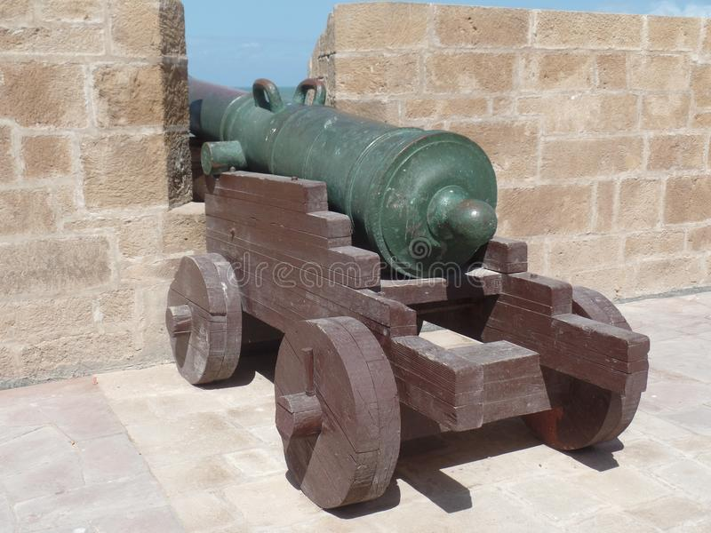 Ancient cannon on the ramparts in Essaouira, Morocco stock photography