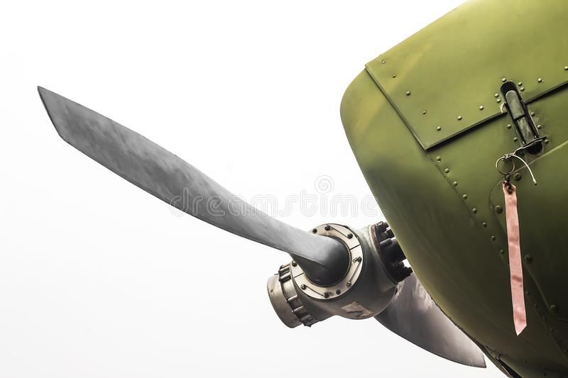 Ancient green military aircraft propellers royalty free stock photos