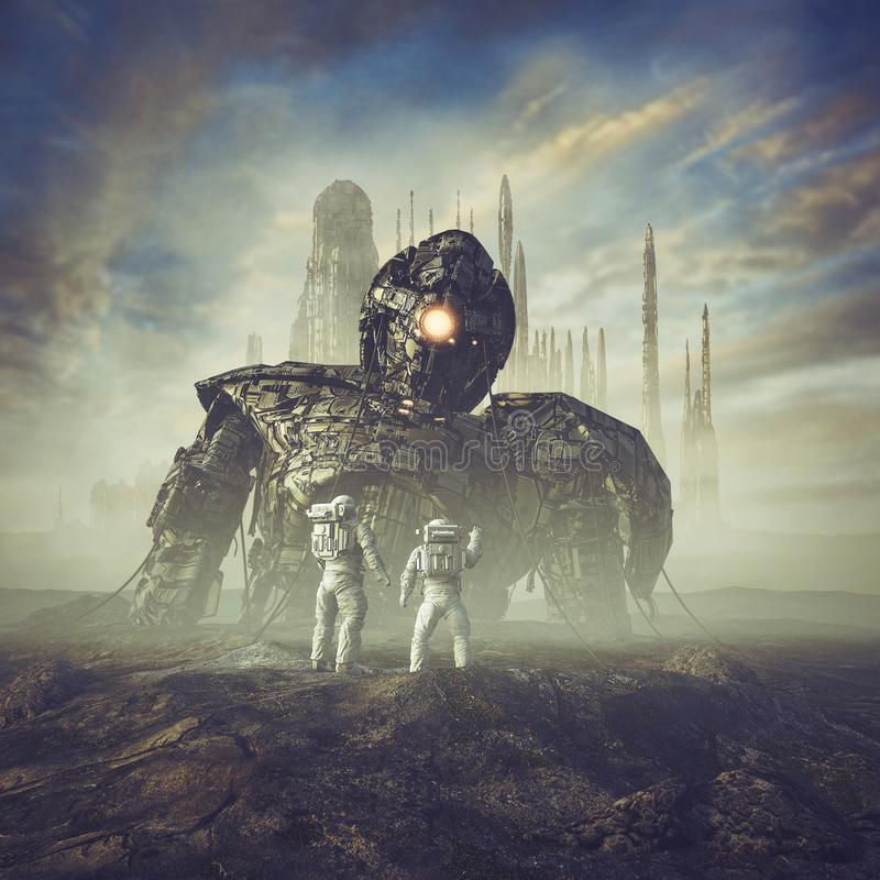 Ancient guardian awakens. 3D illustration of science fiction scene showing astronauts finding giant robot in the desert outside ancient city stock illustration