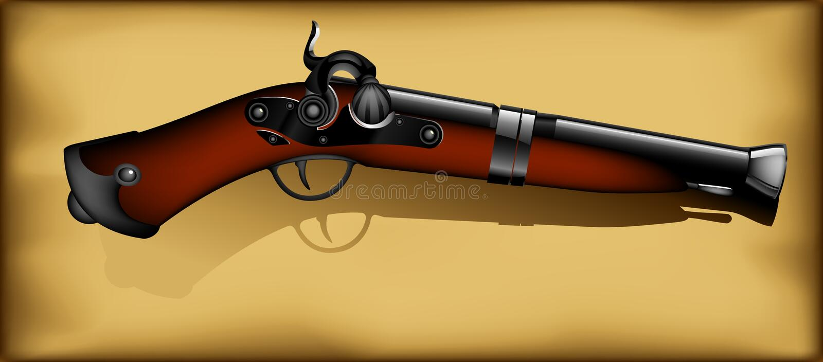 Download Ancient gun stock vector. Image of illustration, beige - 21346221