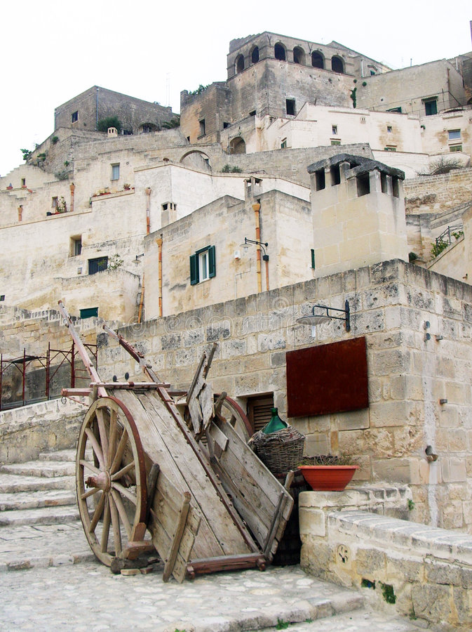 Ancient handcart. In Matera village - south Italy stock image