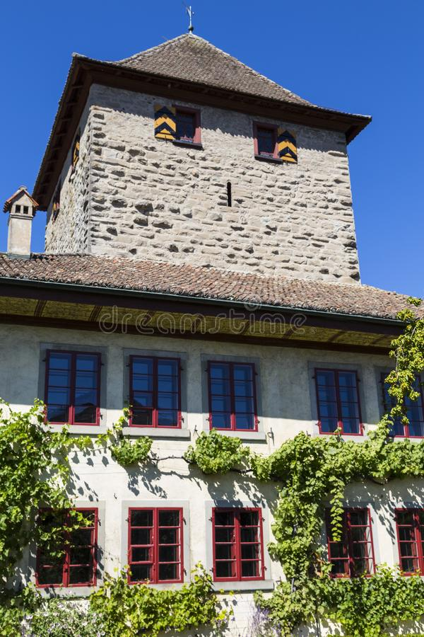 Schloss Hegi. City Winterthur, Switzerland. Ancient Hegi castle in the town Winterthur, Switzerland, outside on a blue sky background in a summer day. Tourist stock photo