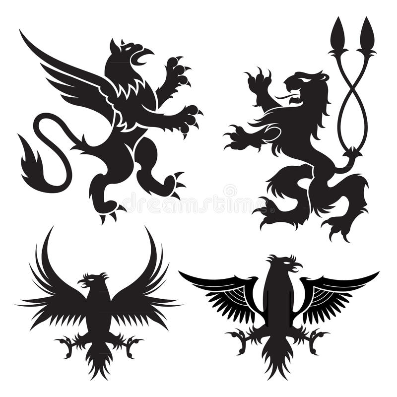 Ancient heraldic griffins symbols of black majestic beasts with body of lion, angel wings and eagle heads. For heraldic design or. Ancient heraldic griffins vector illustration