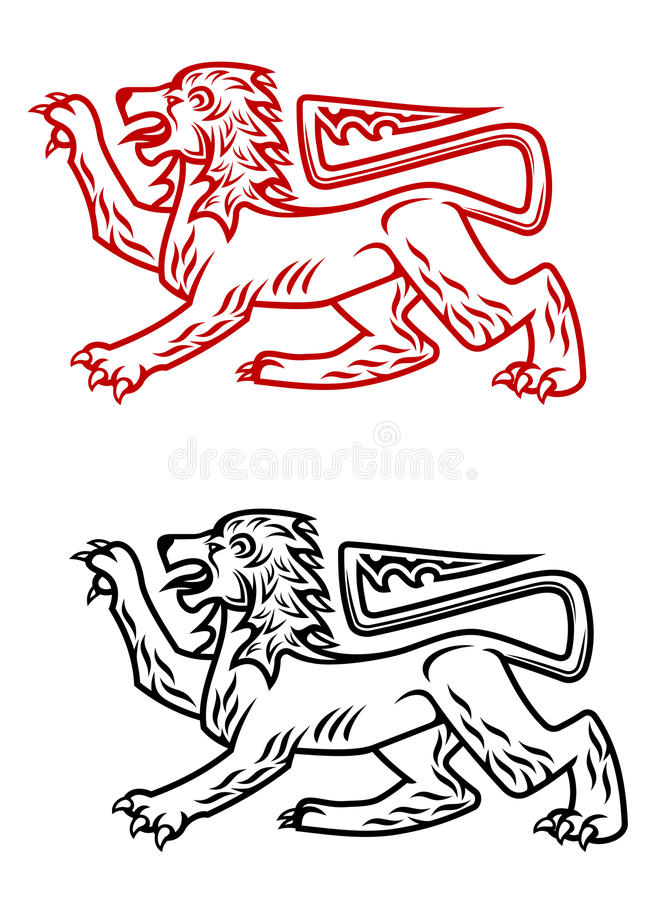 Download Ancient heraldic lion stock vector. Image of gothic, crest - 26761755
