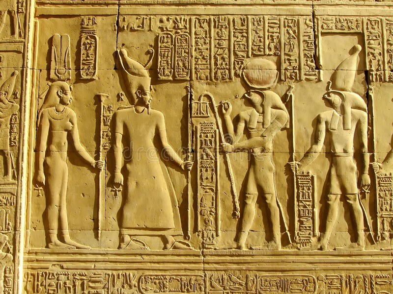 Ancient hieroglyphics on the wall of Kom Ombo temple. Egypt stock photos