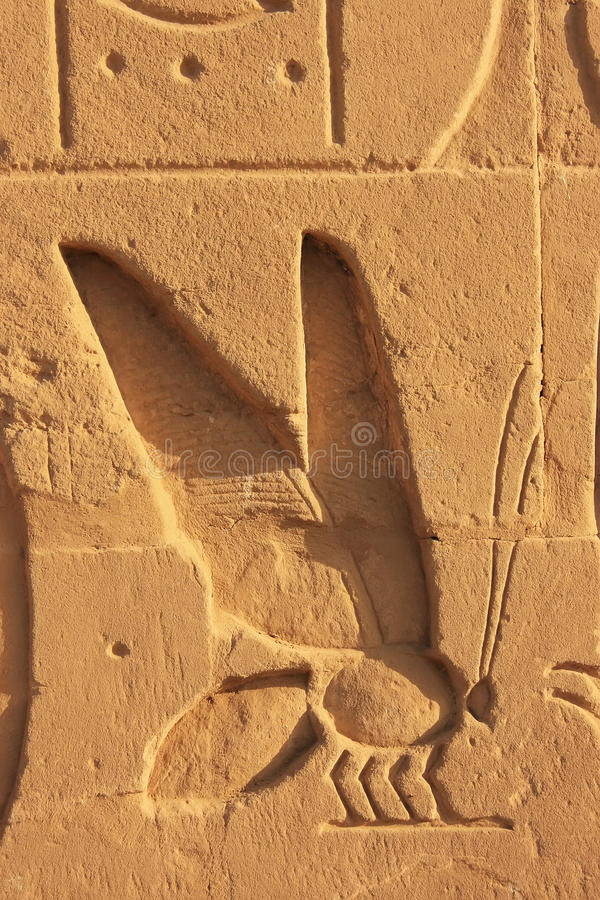 Ancient hieroglyphics on the walls of Karnak temple complex, Lux. Or, Egypt stock image