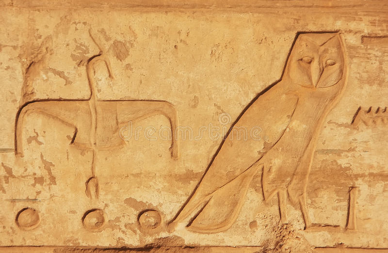 Ancient hieroglyphics on the walls of Karnak temple complex, Lux. Or, Egypt stock images